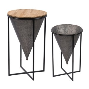 Planters - Cone with Iron Stand Table and Planter 2-Pc. Set