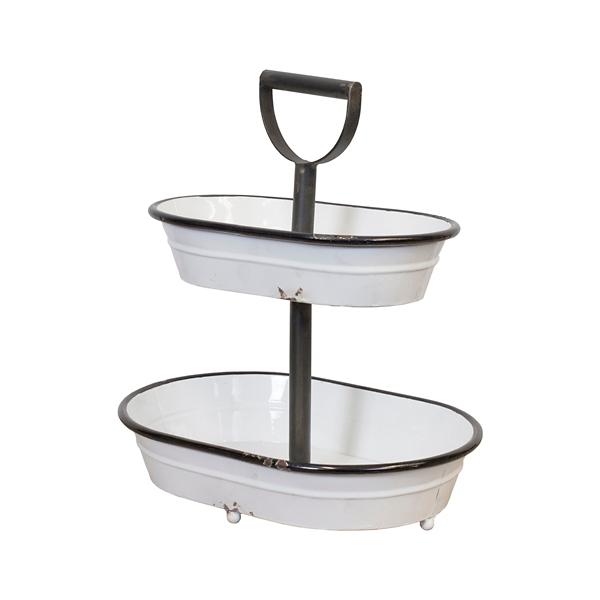 Decorative Trays - White Metal 2-Tier Bucket Tray - Mocome ... on Corner Sconce Shelf Tray id=38819