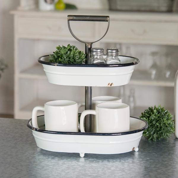 Decorative Trays - White Metal 2-Tier Bucket Tray - Mocome ... on Corner Sconce Shelf Tray id=47688