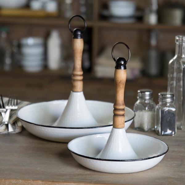Decorative Trays - White Metal Trays with Wood Handles ... on Corner Sconce Shelf Tray id=94870