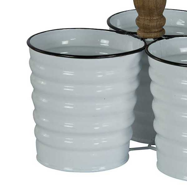 Kitchen Accessories - White Enamel Tri-Cup Caddy