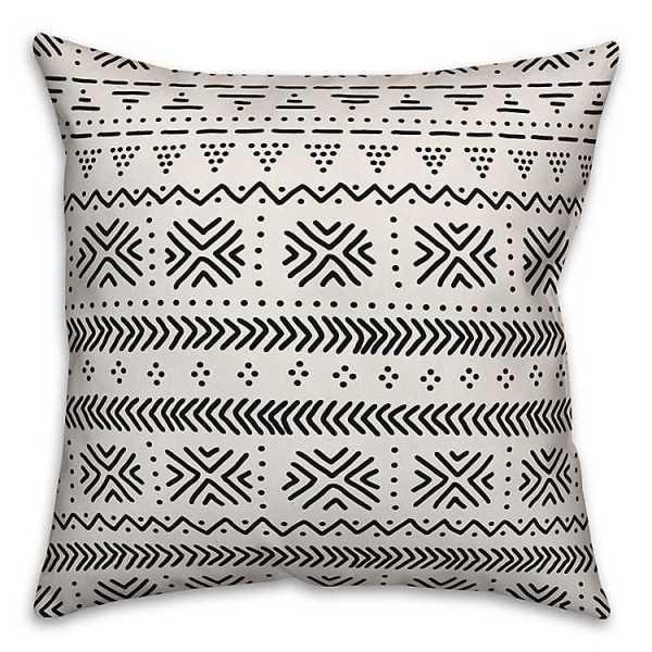 Throw Pillows - Black and White Geometric Print Pillow