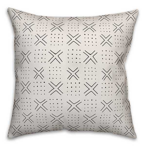 Throw Pillows - Black and White X's and Dots Print Pillow