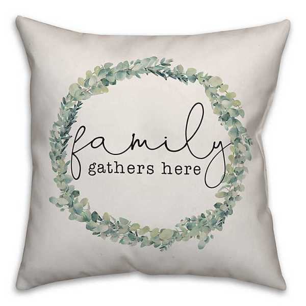 Throw Pillows - Family Gathers Here Wreath Pillow