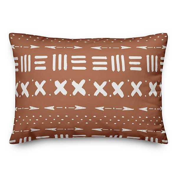 Throw Pillows - Orange and White Tribal Print Pillow