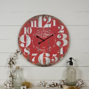 Rustic Wood Plank Large Wall Clock Red