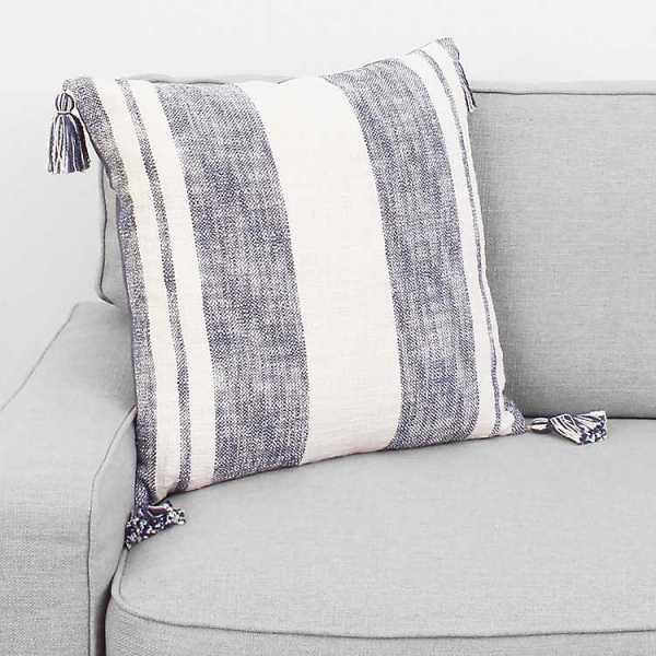 Throw Pillows - Indigo Farmhouse Stripe with Tassels Pillow
