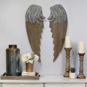 Angel Wings Wood and Metal Wall Decor