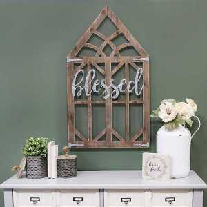Galvanized Blessed Wooden Window Frame Wall Decor