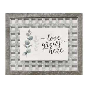Galvanized Metal Framed Love Grows Here Wall Art