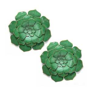 Metal Flower Wall Art Green