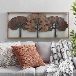 Natural Tree Wood and Metal Framed Wall Art