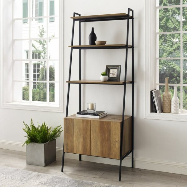 bobbie-rustic-style-ladder-bookcase-with-cabinet