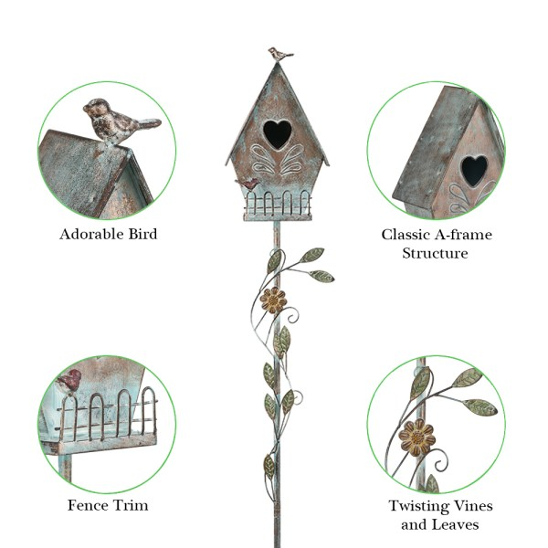 Tall Distressed A-Style Birdhouse Garden Stakes 57 Inch Partial details