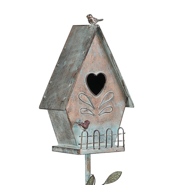 Tall Distressed A-Style Birdhouse Garden Stakes 57 Inch