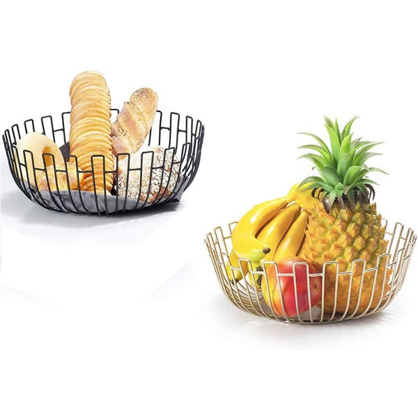 Large Black Metal Wire Fruit Baskets Real Shot 1