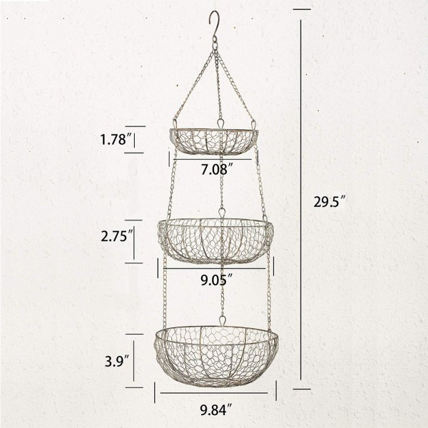 Home Tiered Hanging Fruit Baskets Dimensional Drawings