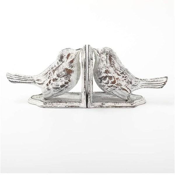 Vintage White Cast Iron Bird Bookends