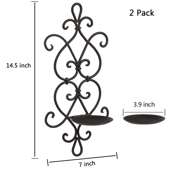 Black Wrought Iron Flower Candle Holders Dimensional Drawings