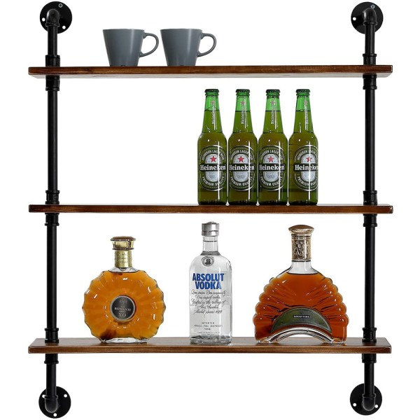 3 Tiers Rustic Brown Wood Floating Shelves with Metal Stand figure 3