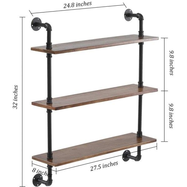 3 Tiers Rustic Brown Wood Floating Shelves with Metal Stand figure 2