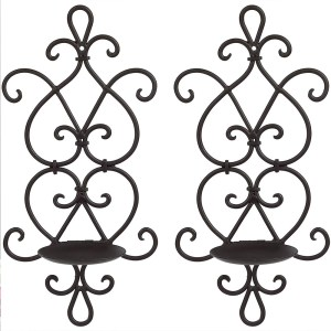 Black Wrought Iron Flower Candle Holders