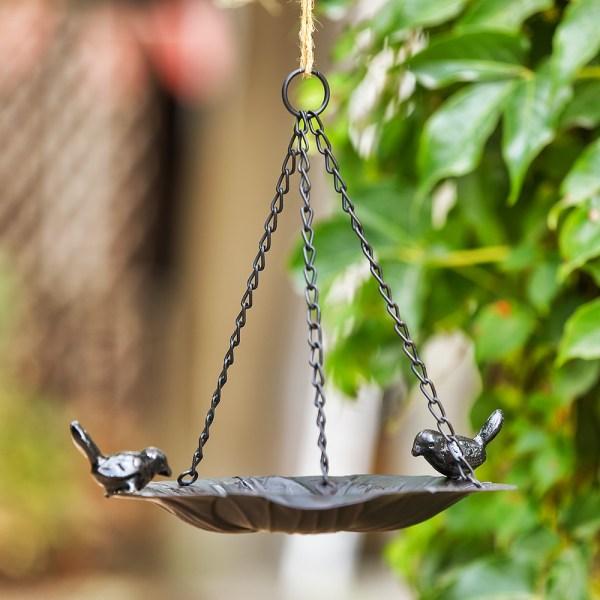 Black hanging tray bird feeders Real shot 2