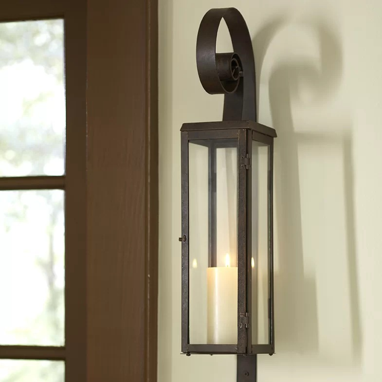 Sante Antique-Style Set Of 2 Rustic Scroll Rectangular ... on Antique Style Candle Holder Sconces id=56549