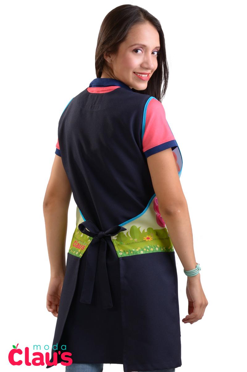 uniformes para maestras de preescolar color azul marino espalda