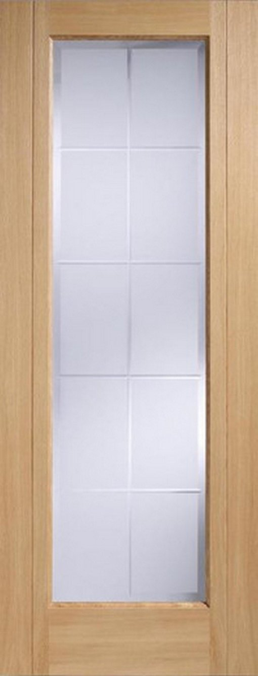 LPD Internal Oak Seville 1 Light Frosted Bevelled Pre-Finished Door