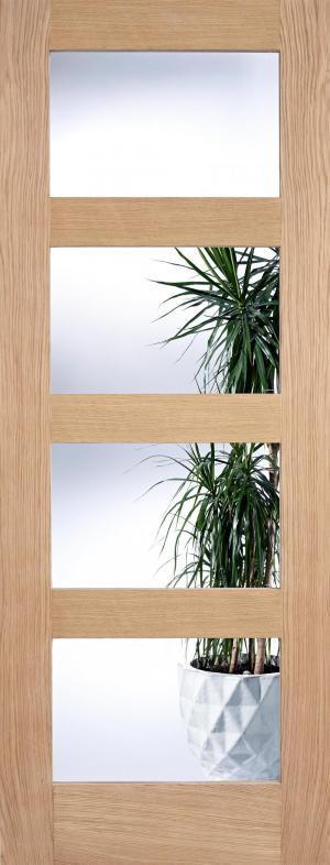 LPD Internal Oak Contemporary 4 Light Clear Glazed Door