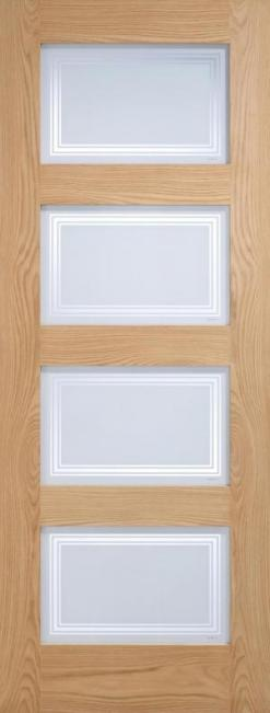 LPD Internal Oak Contemporary 4 Light Silkscreen Glazed Door