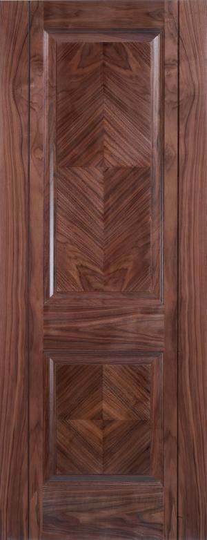 LPD Internal Walnut Madrid 2 Panel Pre-Finished Fire Door