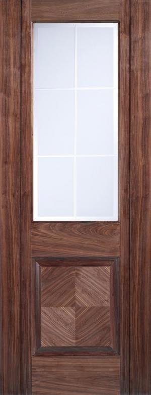LPD Internal Walnut Valencia 1 Panel 1 Light Frosted Bevelled Pre-Finished Door