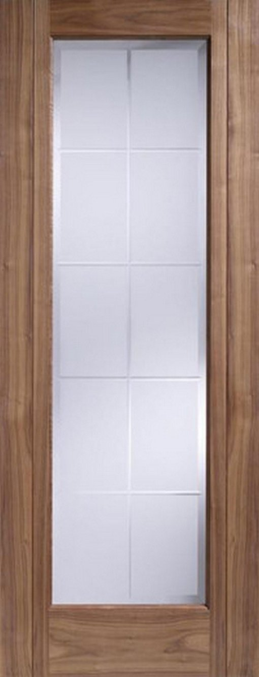 LPD Internal Walnut Seville 1 Light Frosted Glass Pre-Finished Door