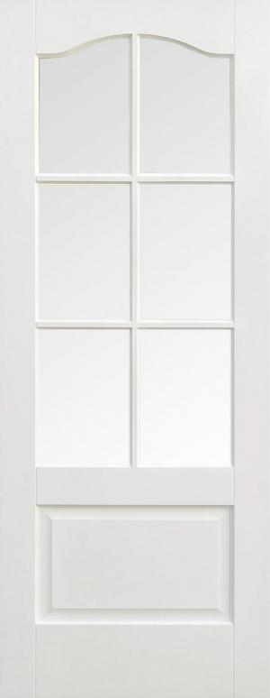 LPD Internal Kent 6 Light Clear Bevelled Glass White Prime Plus Door