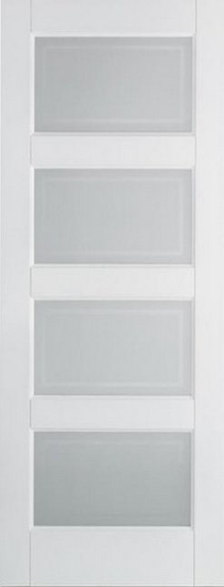 LPD Internal White Contemporary 4 Panel Frosted Glass Door