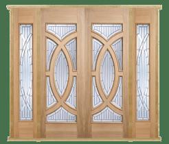 MODA Doors External Majestic Oak IG Zinc Double Entrance Door with 2 Sidelights & Door Frame