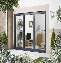 LPD External 2.4m ALUVU (8ft) Aluminium Bi-Fold Door Set in a Grey Finish (Right Hand Opening)