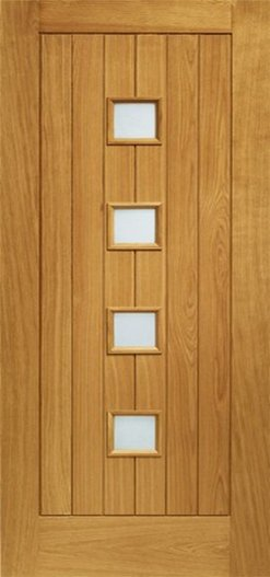 XL Joinery Pre-Finished External Oak Double Obscure Glazed Siena Door Set