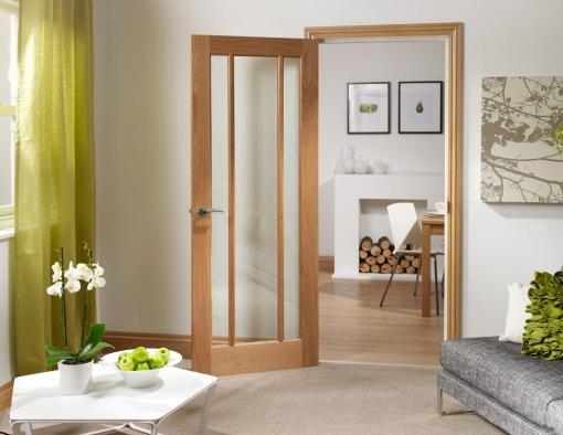 XL Joinery Internal Oak Pre-Finished Worcester with Clear Glass Door