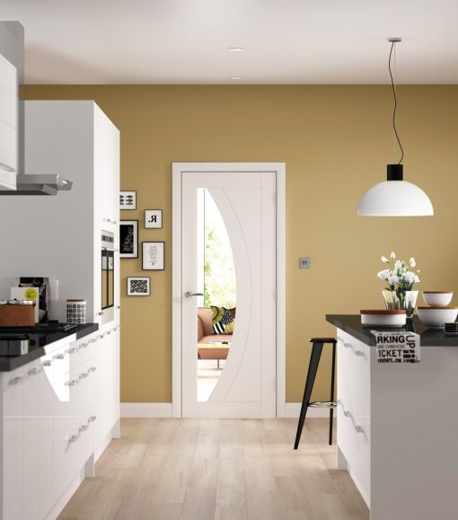 XL Joinery Internal Solid White Primed Salerno with Clear Glass Door