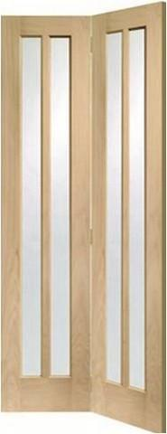 XL Joinery Internal Oak Worcester Bi-Fold with Clear Glass Door