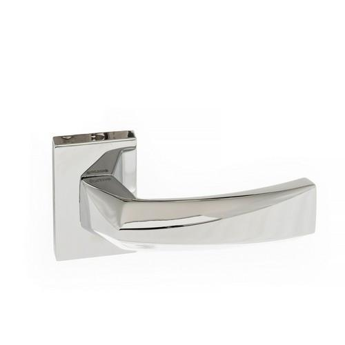 Atlantic Handles Crystal Forme Designer Lever on Minimal Square Rose in a Polished Chrome Finish Pair of Door Handles