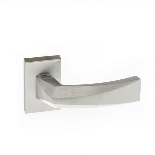Atlantic Handles Crystal Forme Designer Lever on Minimal Square Rose in a Satin Chrome Finish Pair of Door Handles