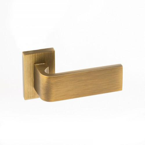 Atlantic Handles Monza Forme Designer Lever on Minimal Square Rose in a Yester Bronze Finish Pair of Door Handles