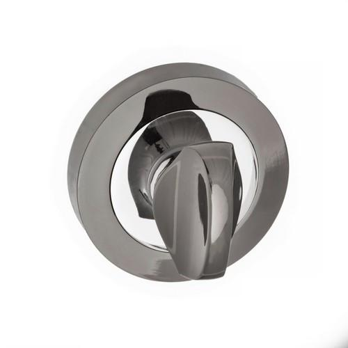 Atlantic Handles Status WC Turn on Round Rose in a Black Nickel & Polished Chrome Finish