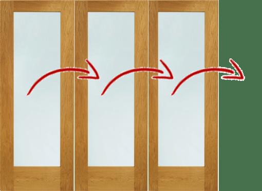 LPD External 2.4m NUVU (8ft) Oak Pre-Finished Bi-Fold Doors with a 3+0 Configuration