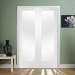 XL Joinery Internal White Primed Pattern 10 Clear Glass Door Pair