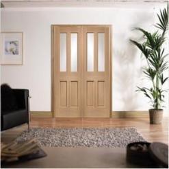 XL Joinery Internal Oak Malton Clear Glass Door Pair
